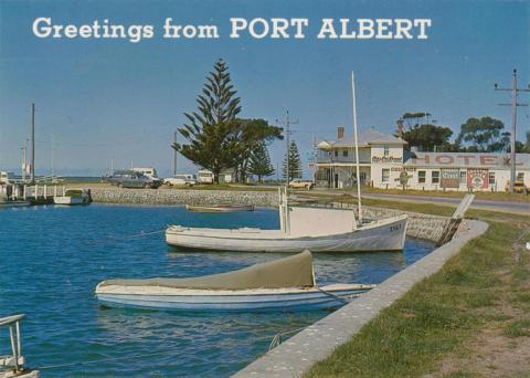 Port Albert showing the views of the historical hotel, 1981