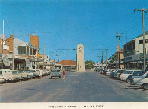 Victoria Street looking to the Clock Tower, Kerang, 1975