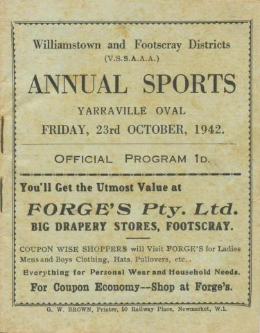 Annual Sports Program, Yarraville, 1942
