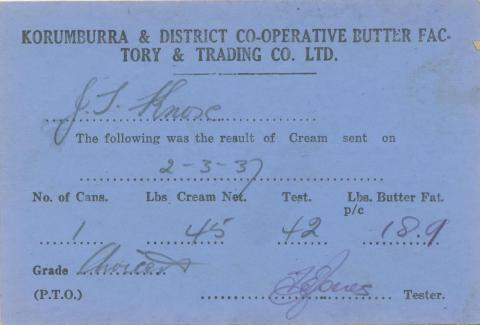 Korumburra and District Co-operative Butter Factory Notice, 1937