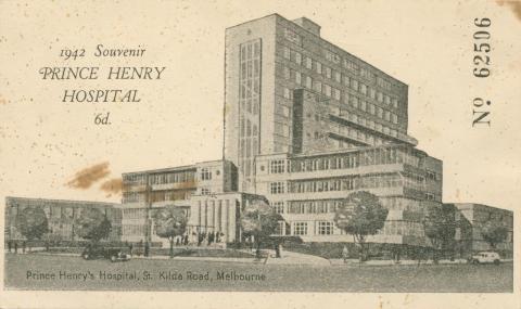 1942 Souvenir Prince Henry Hospital, St Kilda Road, Melbourne