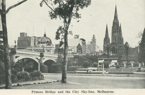 Princes Bridge and City Skyline, Melbourne, 1942