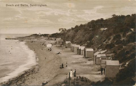 Beach and Baths, Sandringham, 1913
