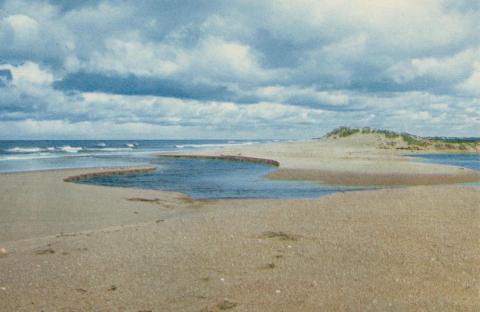 The creek crossing the beach to the sea, Seaspray, 1975