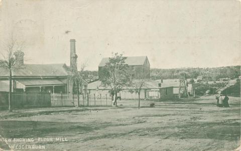 View showing flour mill, Wedderburn, 1927