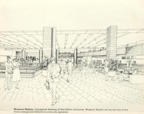 Museum Station, under construction 1971-82