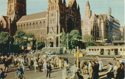 Flinders Street intersection and St Paul's Cathedral, Melbourne