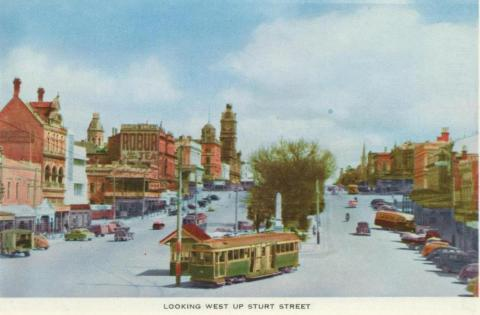 Looking west up Sturt Street, Ballarat, 1958