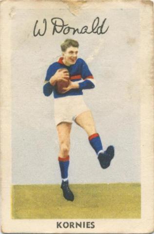 W. Donald, Footscray Football Club, Kornies Card
