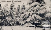 Snow scene in gardens, Beechworth