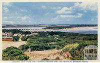 Looking east over the camping ground and the river at Barwon Heads, 1964