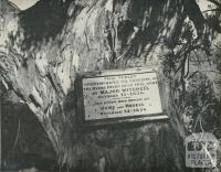 Historical Tablet at Ovens River Bridge, Ovens Valley, 1960