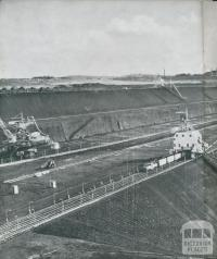 Section of the coal faces at Yallourn open cut, 1954
