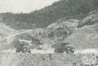 View at the rock fill quarry, Upper Yarra Dam, 1954