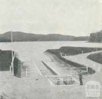 Outlet of the Upper Yarra-Silvan Conduit at Silvan Reservoir, Upper Yarra Dam, 1954