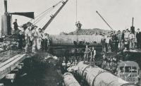 Laying Pipes for Rising Main between Spotswood Pumping Station and the Outfall Sewer at Brooklyn, 1956