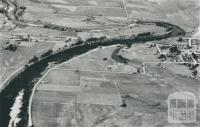 Aerial view of fertile Snowy River flats, 1955