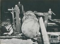 The Symonson log turning unit in a mill, Powelltown, 1955