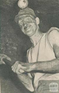 Miner at work on the coal face, Wonthaggi, 1944