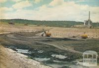 Brown coal open-cut with powerhouse in the background, Anglesea, 1970