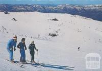 Overlooking Mount Buller ski runs from top of the Summit T-Bar