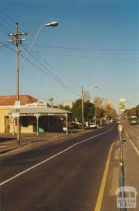 Tram poles with finials, corner of Lygon and Fenwick streets, Carlton, 2000