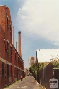 Little Lithgow Street, Abbotsford, looking south to Richmond high-rise flat, 2001