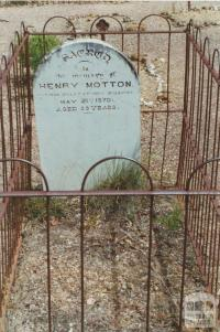 Grave of Henry Motton, Whroo Cemetery, 2001