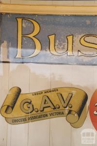 Sign in Raywood window, 2007
