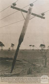 Burnt power pole near Truganina, 1969