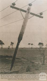 Burnt power pole near Truganina, 1969