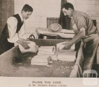 Piling the curd at Mr Mitchell's factory, Lilydale, 1905