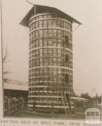 100 ton silo at Mill Park, near Morang, 1907
