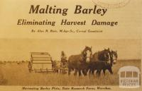 Harvesting barley plots, State Research Farm, Werribee, 1934