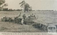 Pressing hay on Mr H.E. Oliver's farm, Lockington, 1952