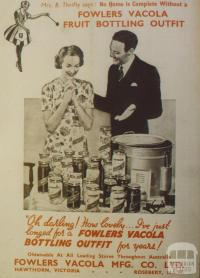 Advertisement, Fowlers Vacola Fruit Bottling Outfit, Hawthorn, 1958