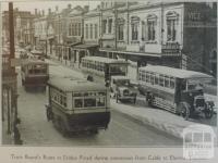 Tram Board buses in Bridge Road, Richmond, 1926
