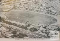 Aerial view of western oval showing new grandstand, Footscray, 1929