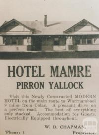 Advertisement, Hotel Mamre, Pirron Yallock, 1937