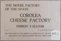 Advertisement Corolea cheese factory, Colac, 1937