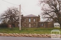 Masonic temple and sandbags along Buckenall Street, Carisbrook, 2010