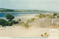 View from surfing beach over the lake, Lakes Entrance, 1955