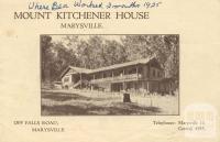 Mount Kitchener House, Marysville, c1925