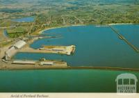 Aerial of Portland Harbour with grain silos and K.S. Anderson Wharf