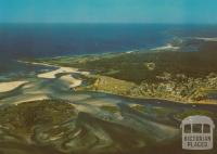 Aerial View of Mallacoota, showing the entrance to the lake system
