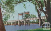 Railway and traffic bridge, Robinvale, 1966