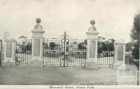 Memorial Gates, Anzac Park, Warracknabeal, 1925