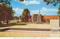 Shire Offices with War Memorial in foreground, Wodonga, 1965
