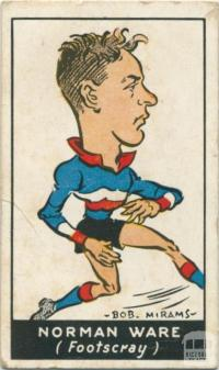 Norman Ware, Footscray Football Club, Standard Cigarettes Card