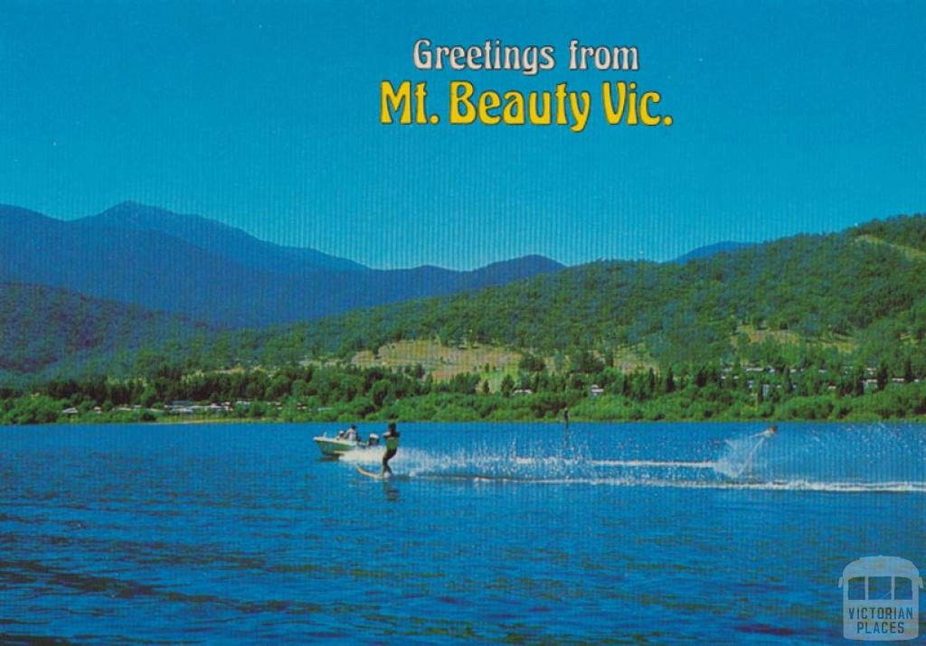 Water ski-ing and Mount Beauty township from the Pondage Lake, Mount Beauty